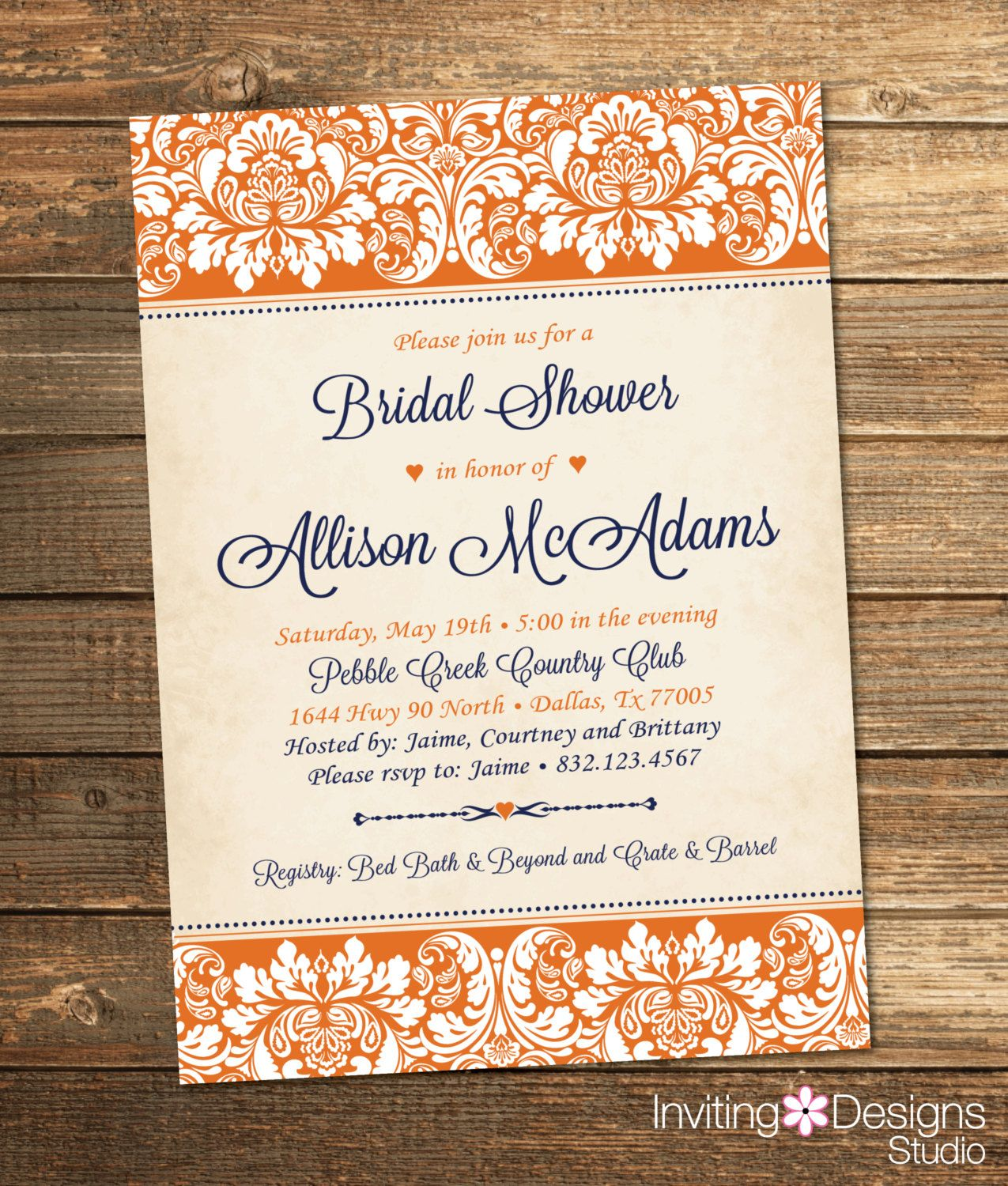 Elegant Bridal Shower Invitation, Wedding Shower