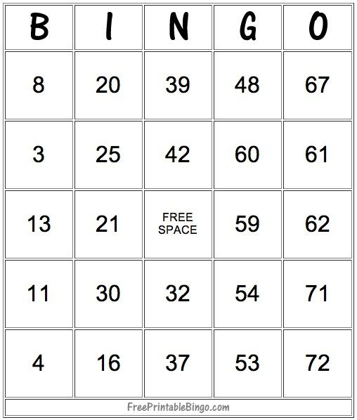 Printable Bingo Card Templates  Bingo Card Template Card