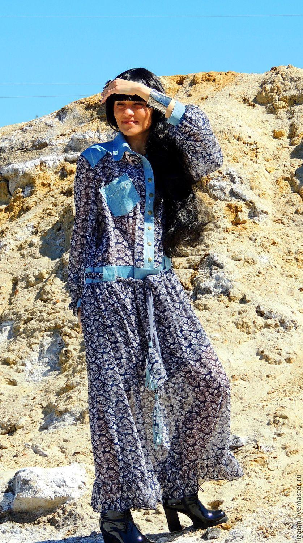 be6e6aa6b72 Купить БОХО платье из шифона и джинса - комбинированный
