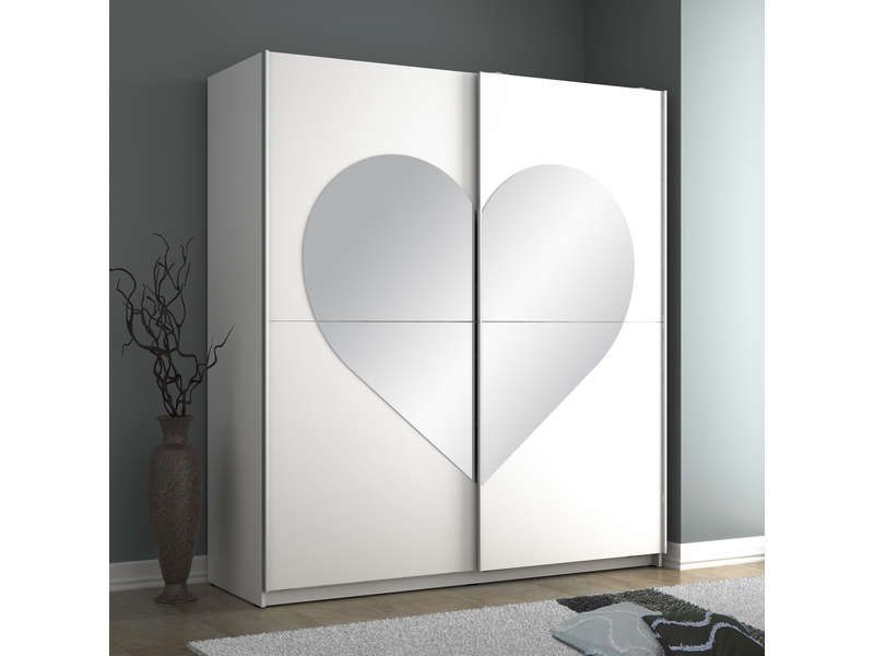 Armoire 2 portes coulissantes CUPIDON coloris blanc - Vente de - armoire ikea porte coulissante