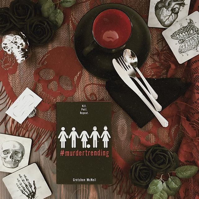 "Photo of Becca 📖📸☕️ on Instagram: ""I partnered with @DisneyBooks to serve you the perfect book for Halloween on a silver platter!#MurderTrending by @Gretchen_McNeil is the…"""