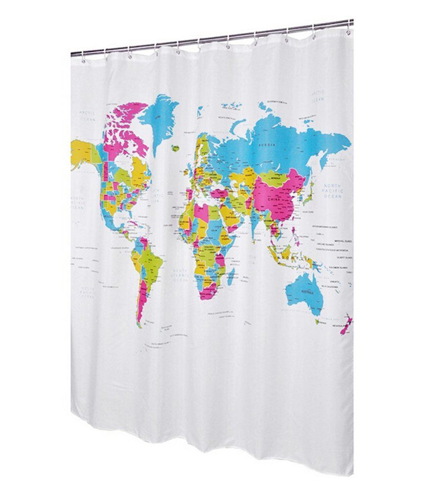 Amazon Com Aprince World Map Design Shower Curtain Bathroom Waterproof Fabric 72 Inch Shower Curtains 12 Hooks Waterproof Curtain Curtains Shower Curtain
