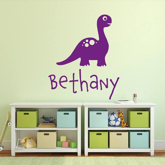 product details: personalised name dinosaur wall sticker - name