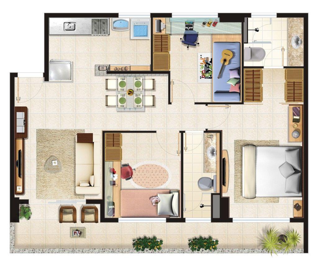 Plantas de apartamentos modernos 1024 868 planos for Modelos apartamentos modernos