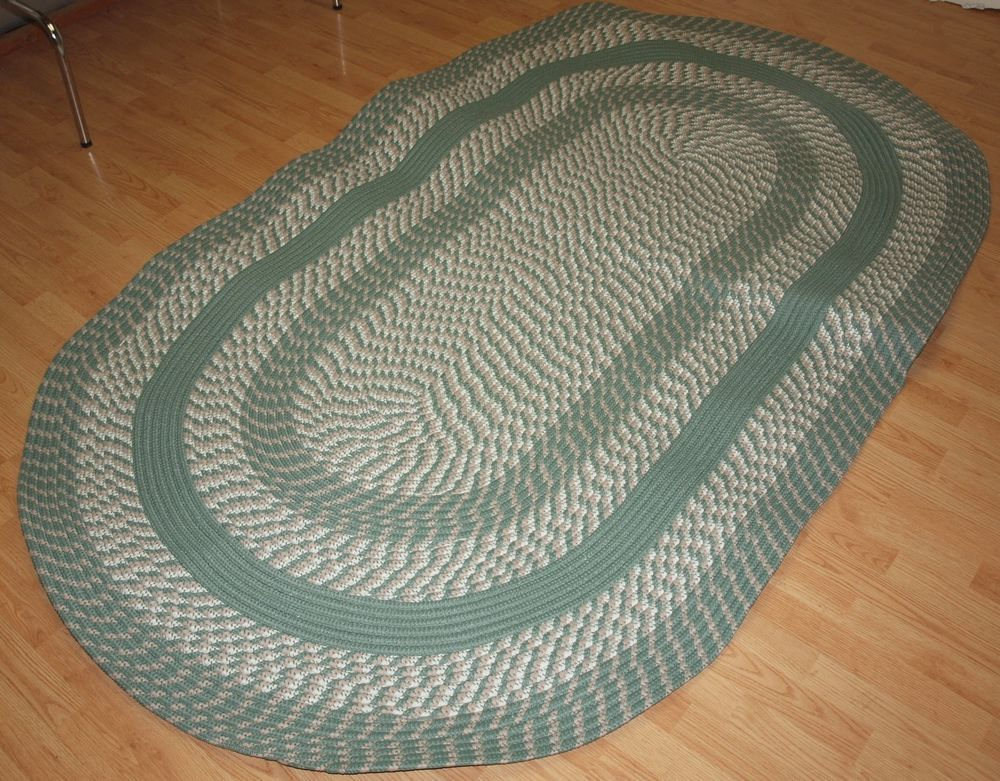New Braided Rug Cambridge 5x8 Oval Sage Green Country Classic Reversible Itm Green Country Rugs Sage Green