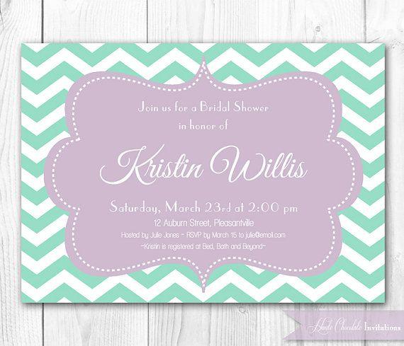 Bridal Shower Invitation - Modern Chevron in Lavender & Mint Shower Invitation. DIY Printable Bridal Shower Invite or Baby Shower Invite.