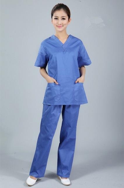 14e3d4027af New premium Women's V neck Nurse Uniform SET Hospital Medical Scrub Set  Clothes Short Sleeve Surgical Scrubs