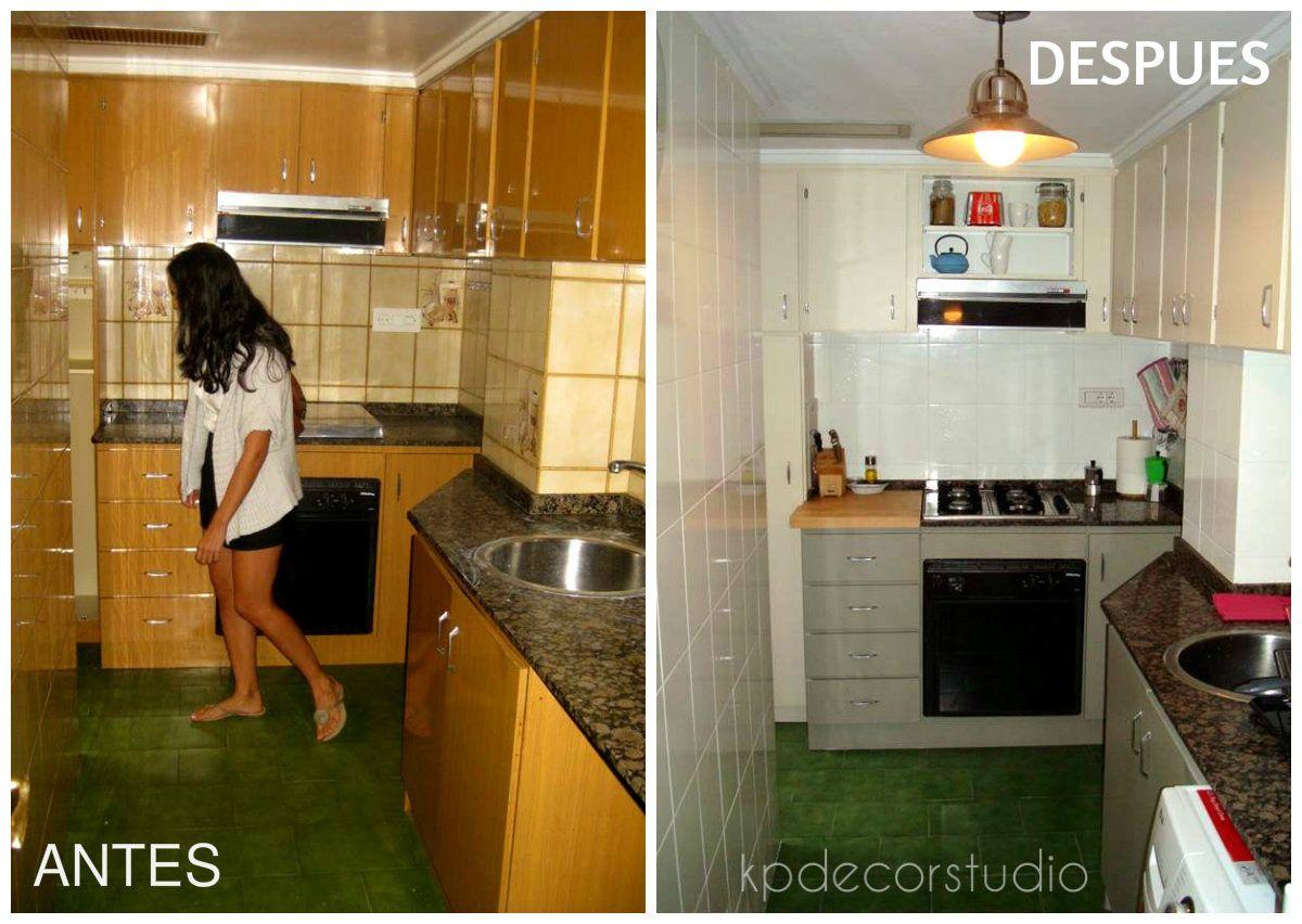 Antes y despu s de una cocina pintada kitchen pintar - Pintura para azulejos de cocina ...