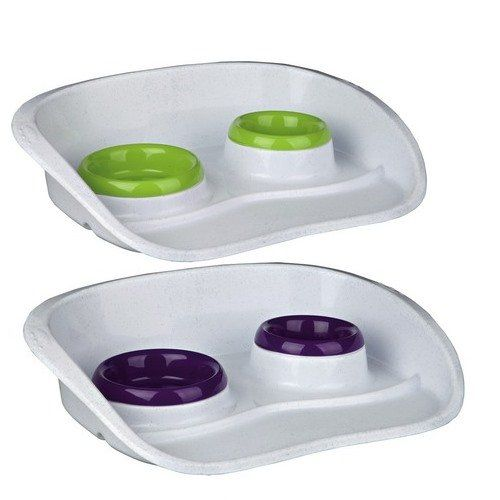 Trixie 24721 Dinner Tray Set with Splashguard for Dogs and Puppies