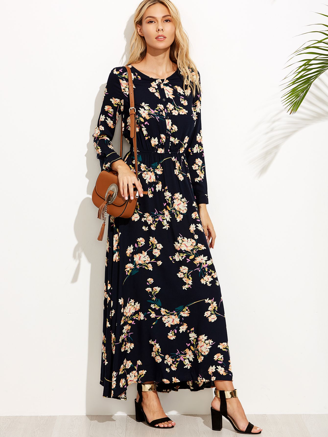 Shop Navy Floral Print Button Front Maxi Dress online. SheIn offers Navy  Floral Print Button Front Maxi Dress   more to fit your fashionable needs. caa6773c89