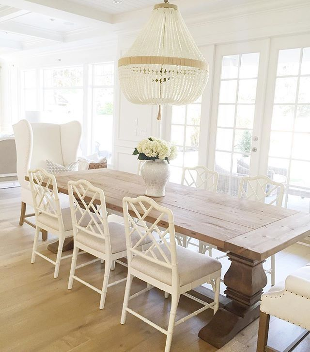 White Wood Dining Table: Love The Dining Room Next To The French Doors To Outside