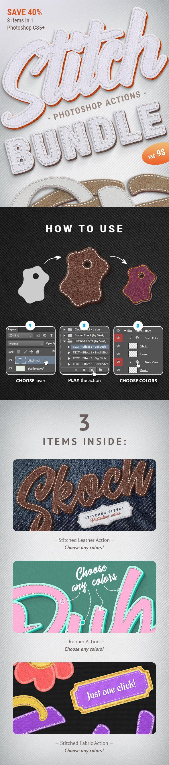 Stitched Actions Bundle text effects, Vector