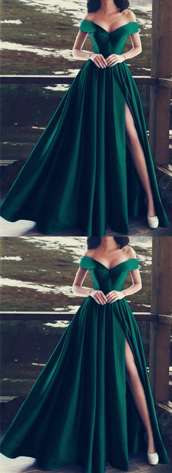 Elegant vneck off the shoulder long satin prom dresses pinterest