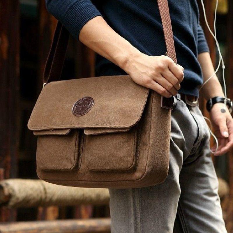 new fashion Men's bags men Vintage Canvas casual Shoulder ...