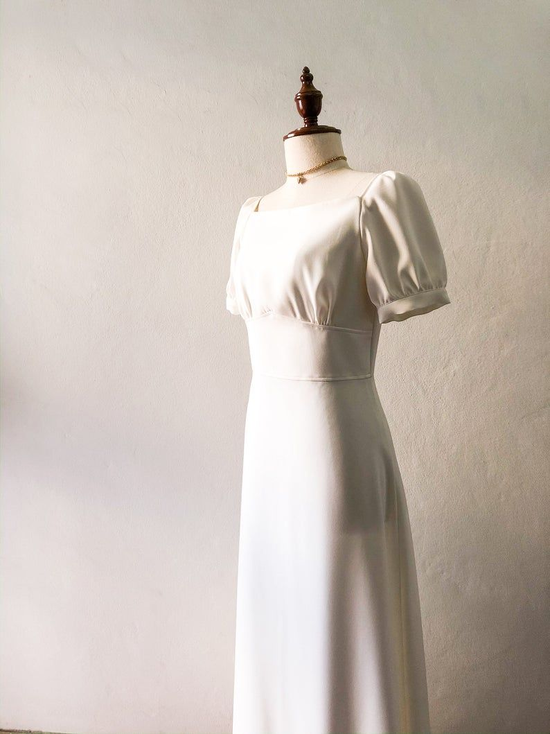 Vintage Wedding Dress White Maxi Dress Snow White Sleeve Party Etsy White Maxi Dresses Wedding Dresses Vintage Snow Dress [ 1059 x 794 Pixel ]