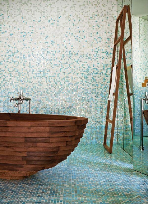 Ausstattung Badezimmer Fliesen Mosaik Blau Ideen Rauminszenierung