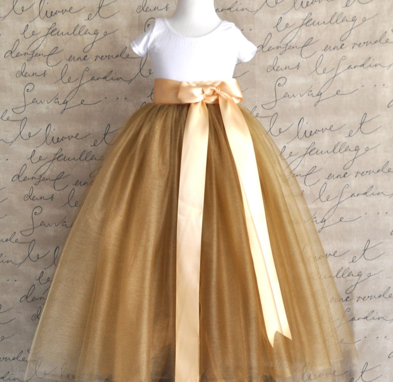 Flower Tutu In Antique Gold Tulle Sashed With Golden Satin Ribbon Lined Ivory
