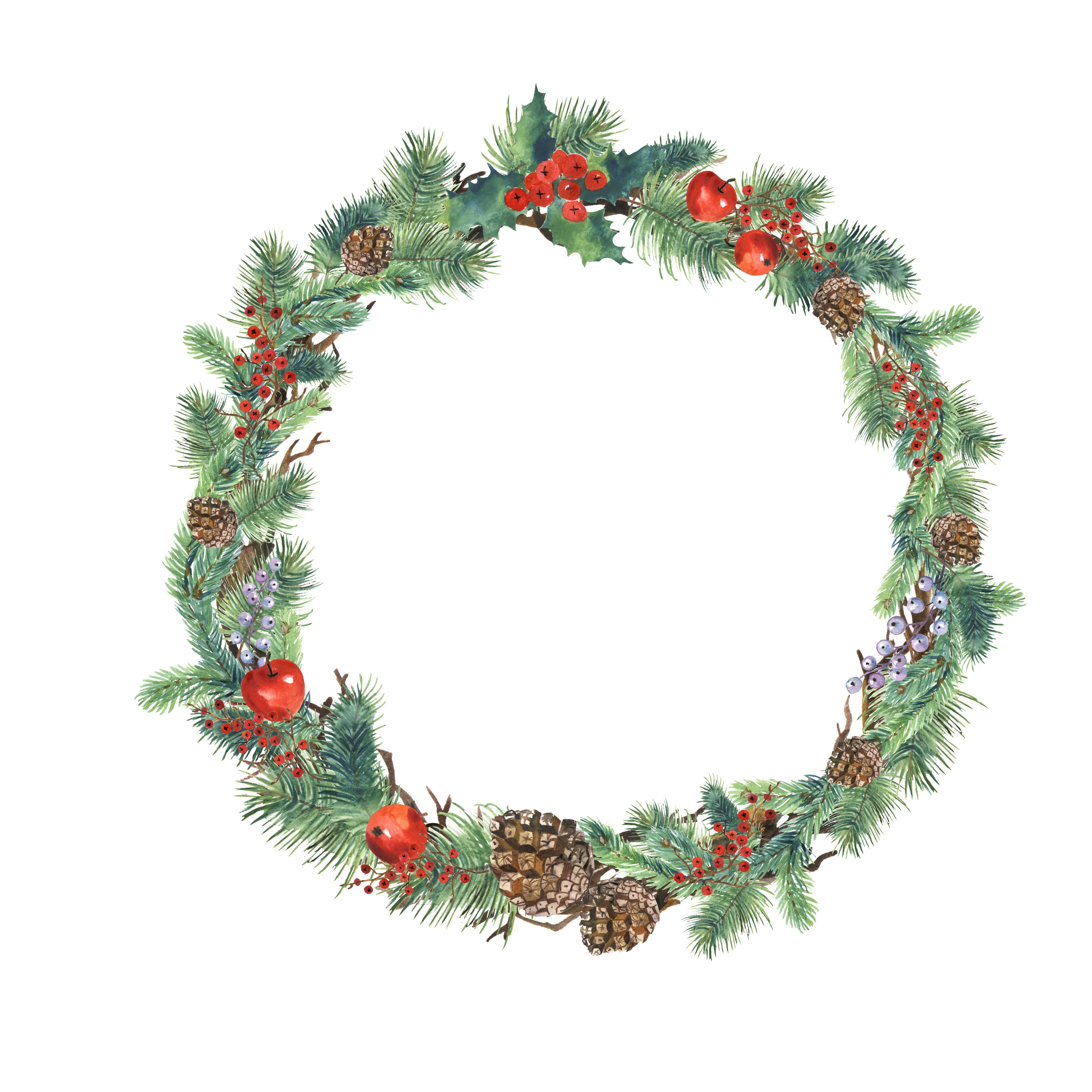 Christmas Wreaths Watercolor Set Png Isolated For Printing Images Scrapbooking Clipart Christmas Wreaths Christmas Boarders Christmas Wreath Clipart
