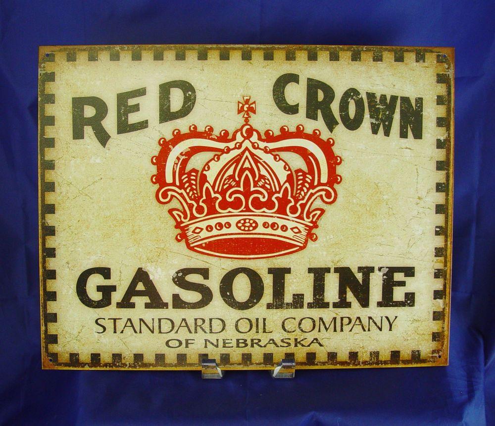 Red Crown Standard Oil Gasoline Gas Metal Tin Sign Vintage Garage ...