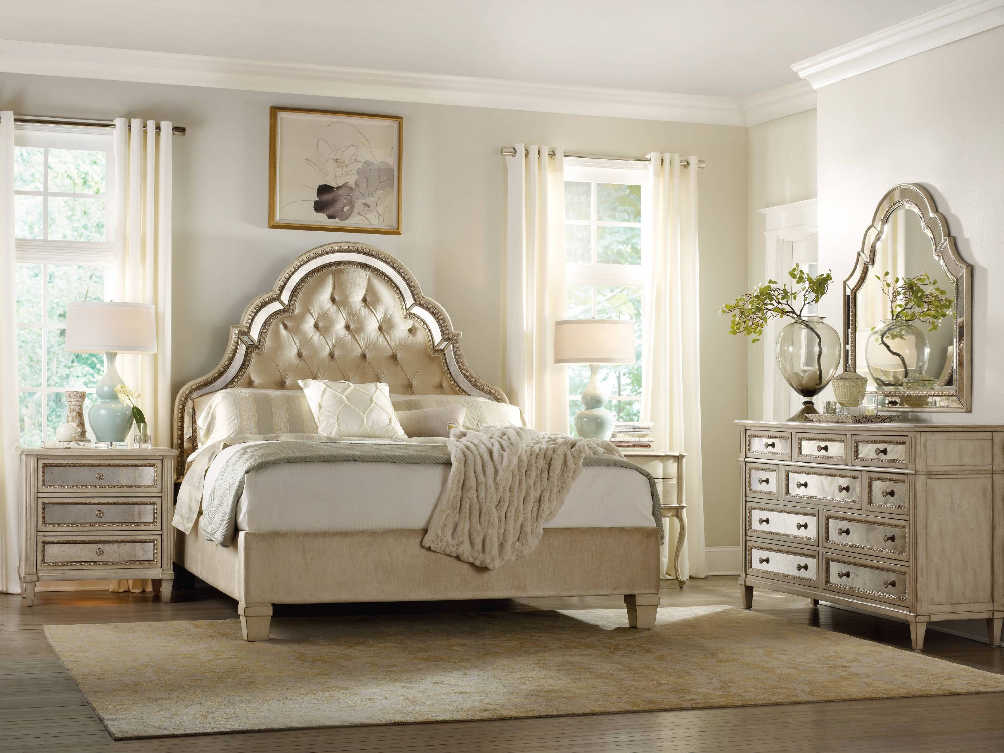 Hooker Furniture Sanctuary King Tufted Bed Pearl Essence 3023 90866 House Mirrored Furniture