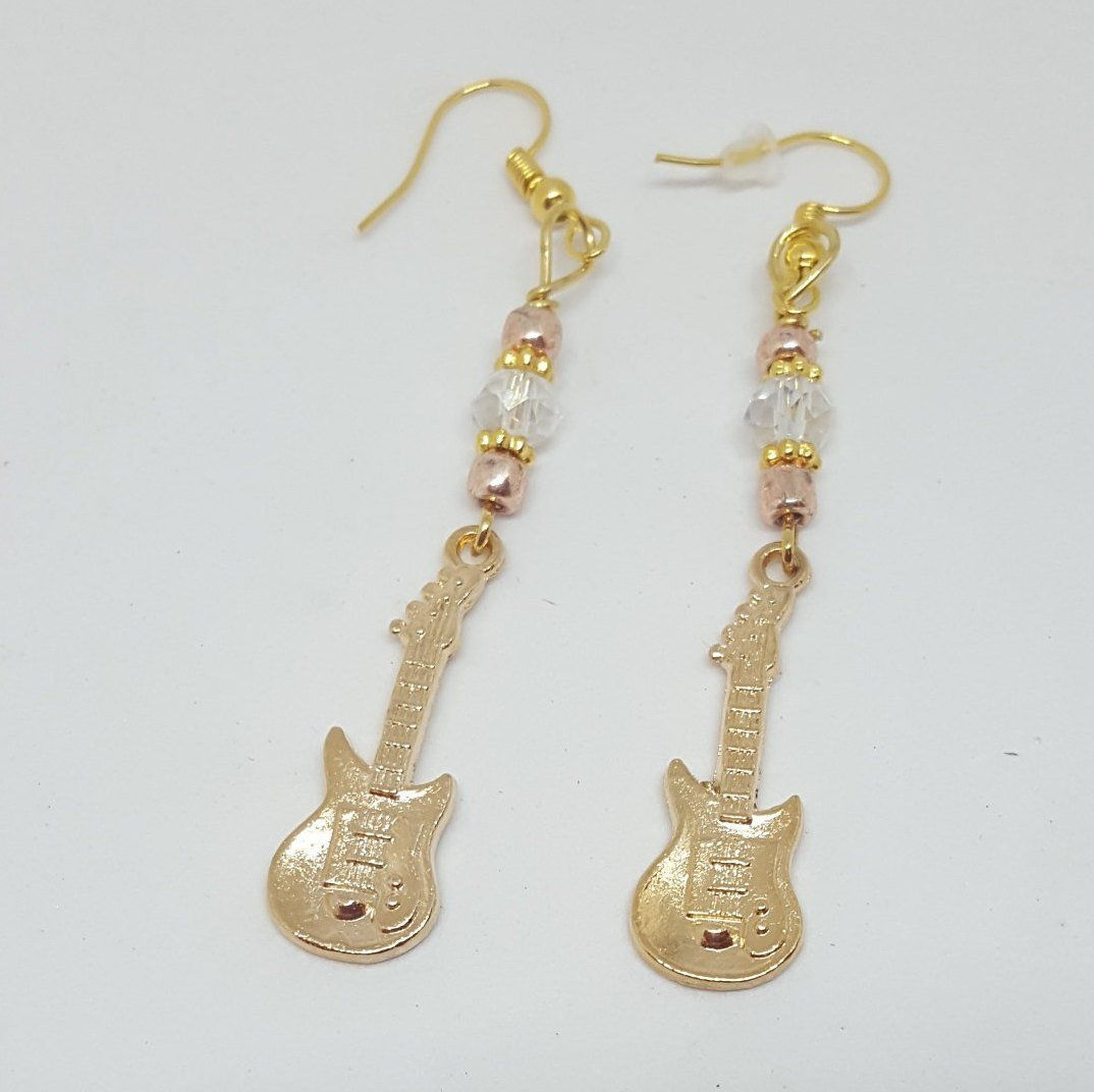 STERLING SILVER DANGLE ELECTRIC GUITAR  EUROPEAN BEAD