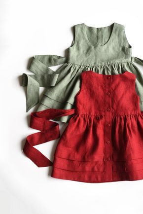 Linen Pinafore Dress, Girls Apron Dress, Sage Green Linen, Deep Red Dress