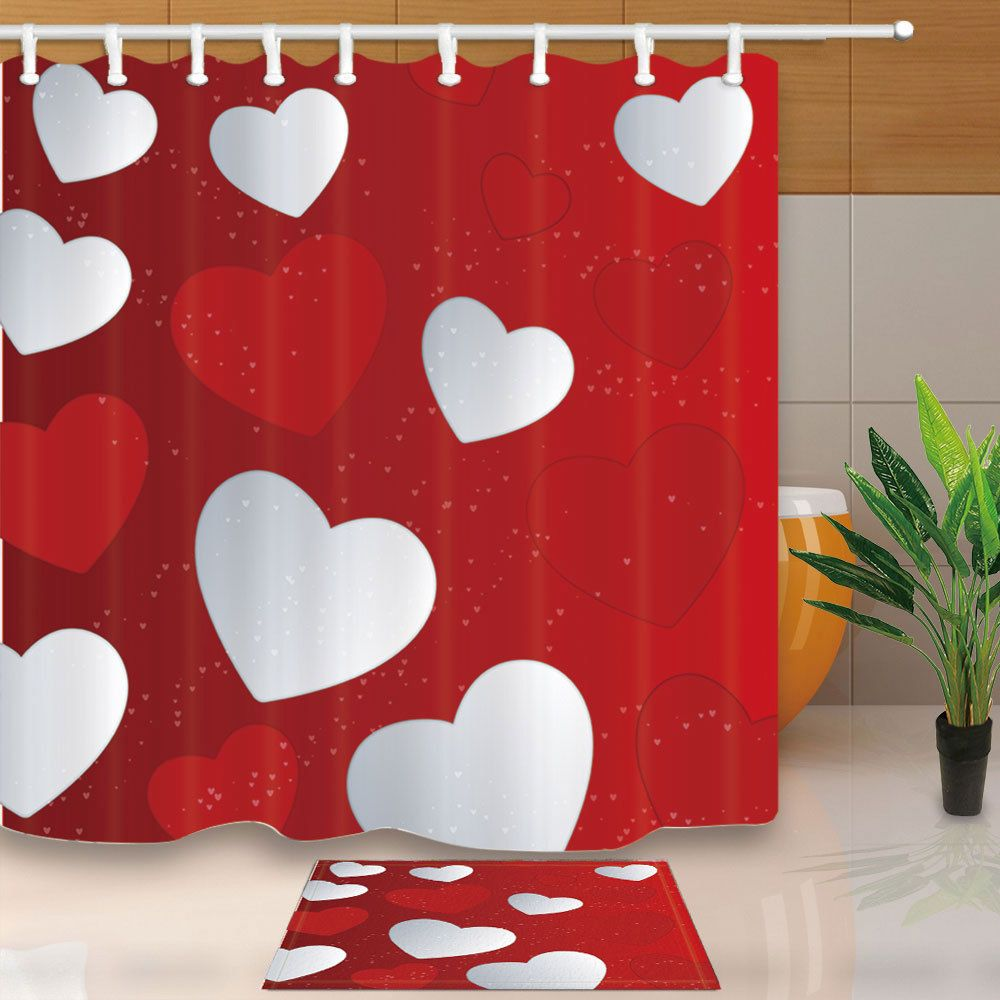 Happy Valentine S Day White Red Heart Bathroom Shower Curtain