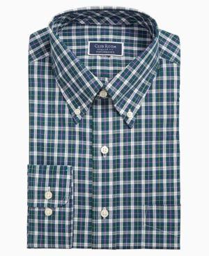 Club Room Mens Regular Fit Checkered Button-Down Shirt White