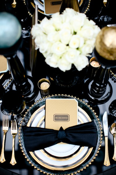 black + white + gold wedding table setting & Trend Alert: Black White and Gold For An Elegant Wedding   Black ...