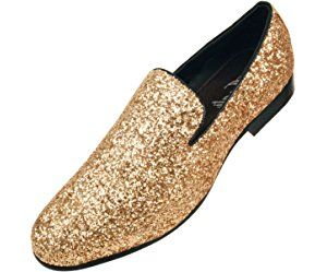 Amali Mens Metallic Gold Sparkling Glitter Tuxedo Slip On Dress Shoe  Style  Barnes-035 5aaa13e66494
