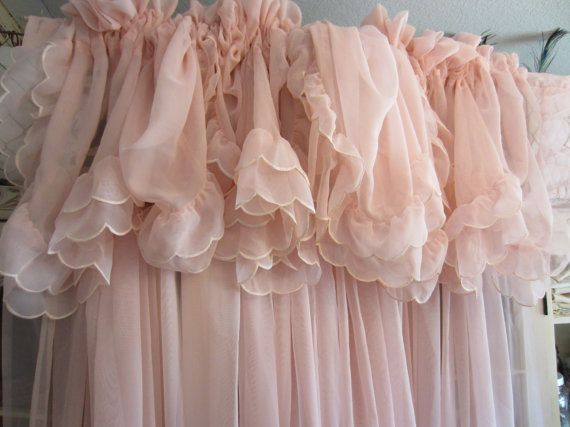 Vintage Pale Pink Curtains Shabby Chic Feminine Shabby Chic Curtains Pink Sheer Curtains Shabby Chic