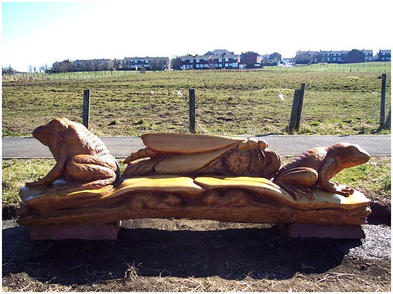 Chainsaw carved frog themed bench art wood pinterest
