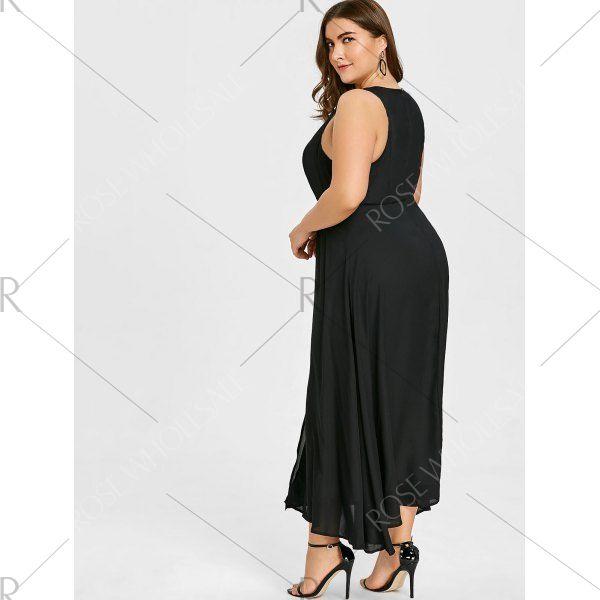 Plus Size Sleeveless Slit Tank Dress Black 3xl Beautiful Dresses