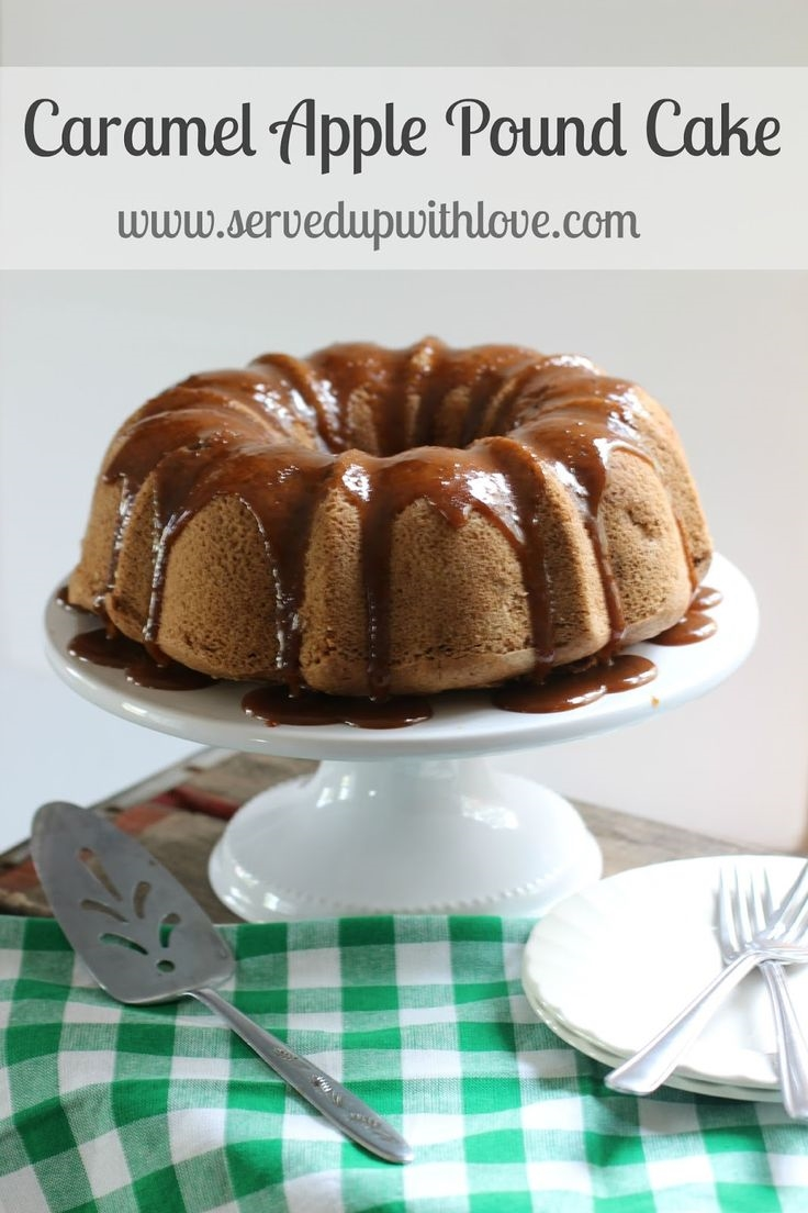 Served Up With Love: Caramel Apple Pound Cake- The perfect taste of fall with bits of apples and spices. The caramel glaze is divine. www.servedupwithlove.com