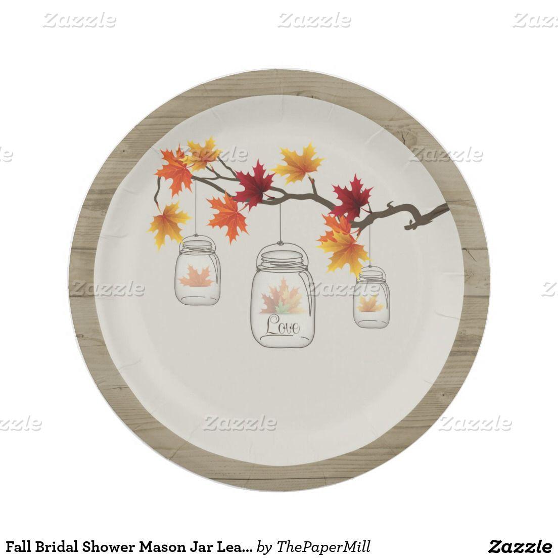 Fall Bridal Shower Mason Jar Leaves Paper Plates