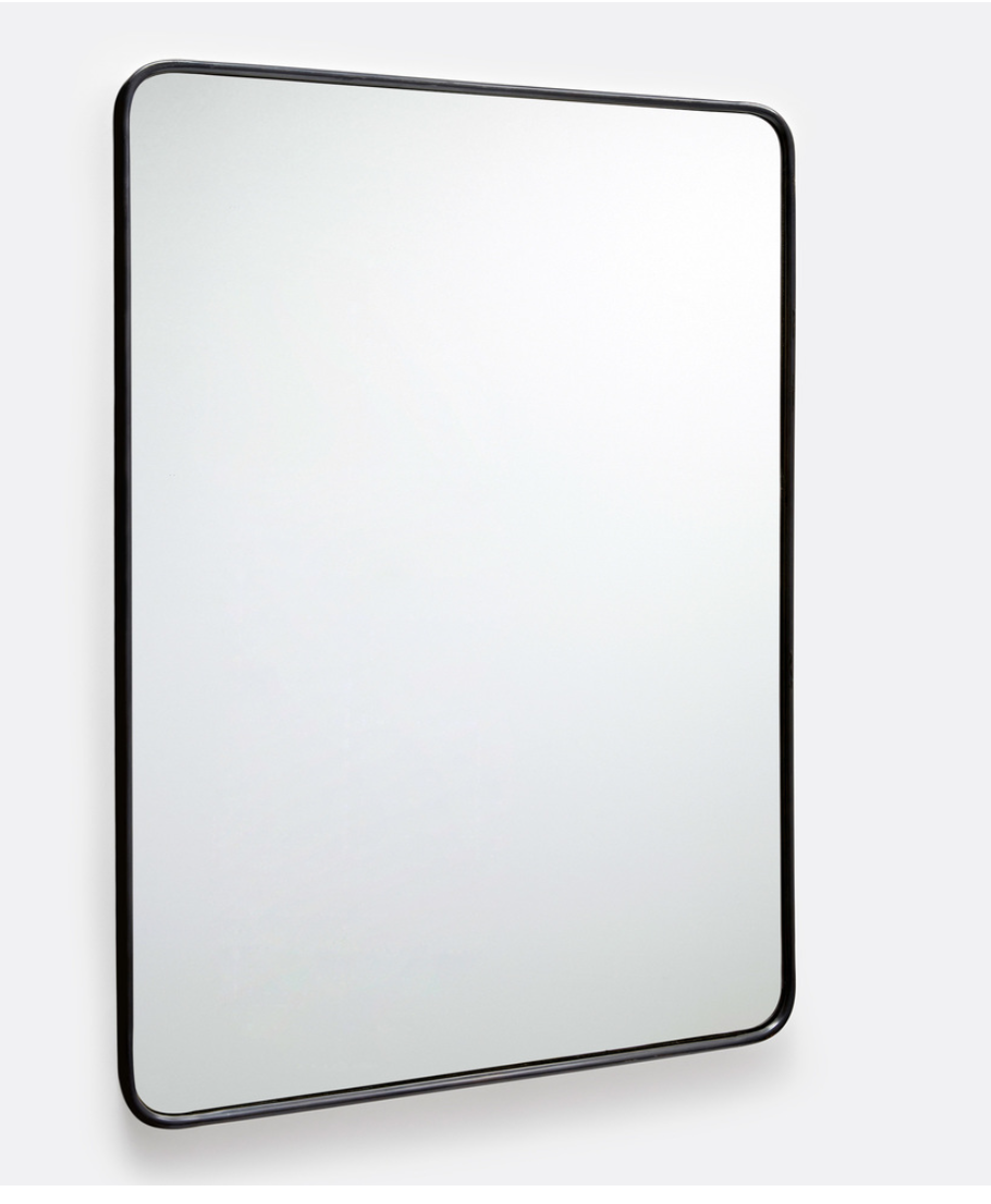 30 X 42 Oil Rubbed Bronze Rounded Rectangle Metal Framed Mirror Rejuvenation In 2020 Metal Frame Mirror Black Mirror Frame Mantle Mirror