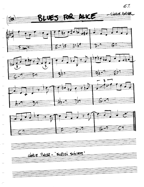 sheet music] blues for alice - charlie parker (medium swing tempo 180) -  jazz backing. track   jazz sheet music, sheet music, jazz songs  pinterest