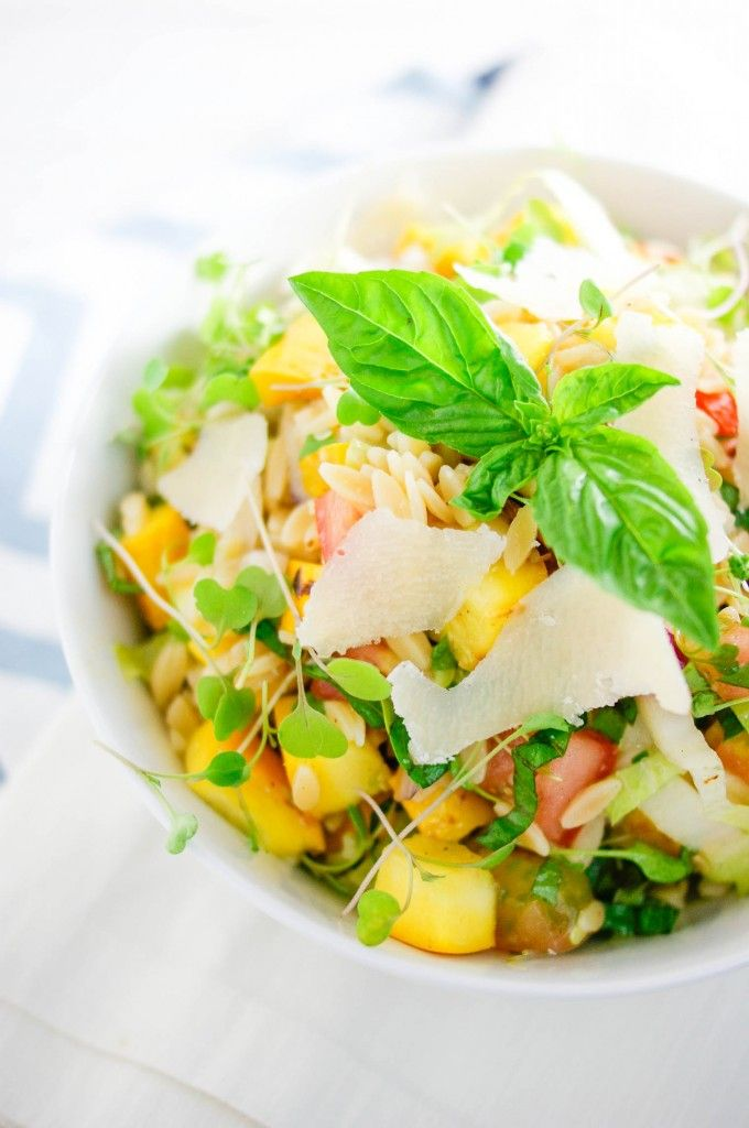 Grilled summer squash orzo salad