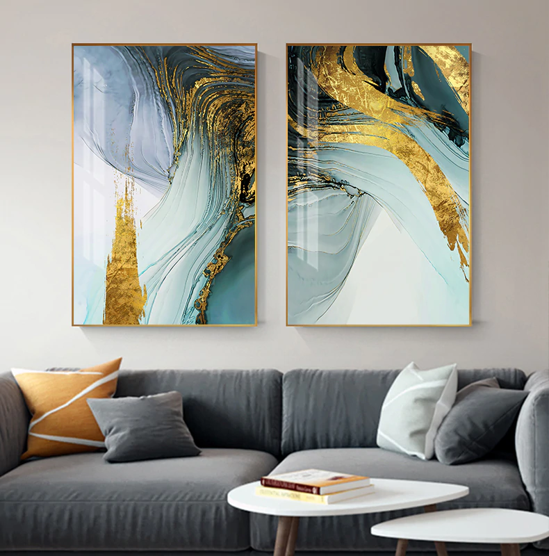 Modern Luxury Abstract Wall Art Golden Blue Luxury Pictures For Office Living Room Or Bedroom Decor Apartment Wall Art Contemporary Wall Art Wall Art Pictures
