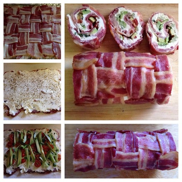 Bacon, avocado, tomato & cream cheese roll-ups