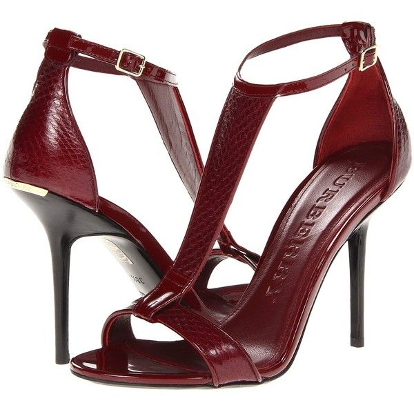Burberry Willough (1.315 BRL) ❤ liked on Polyvore featuring shoes, sandals, heels, red, burberry, blood red snake, red shoes, high heel shoes, red high heel shoes and ankle strap heel sandals