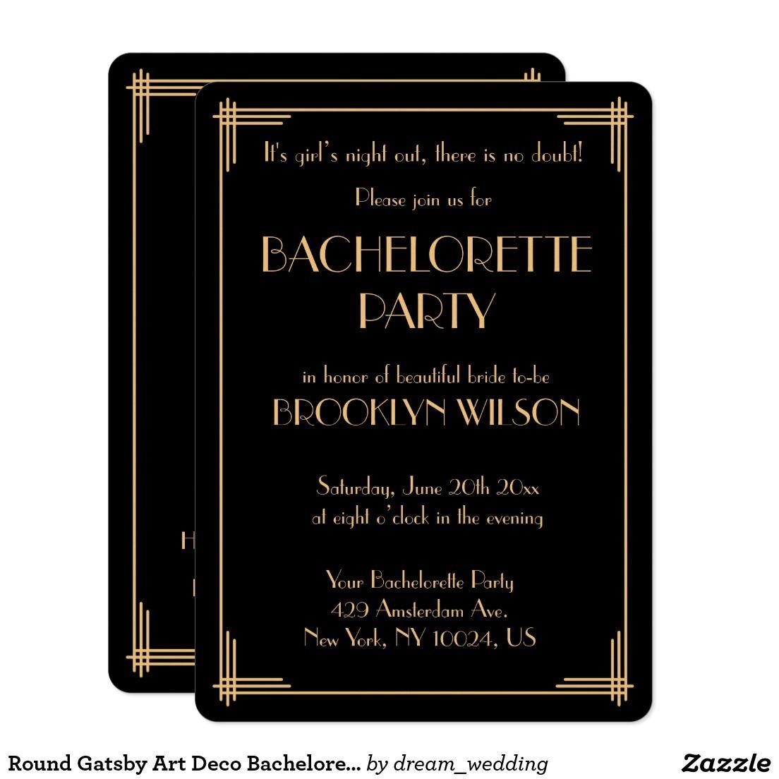 Round Gatsby Art Deco Bachelorette Party Invite