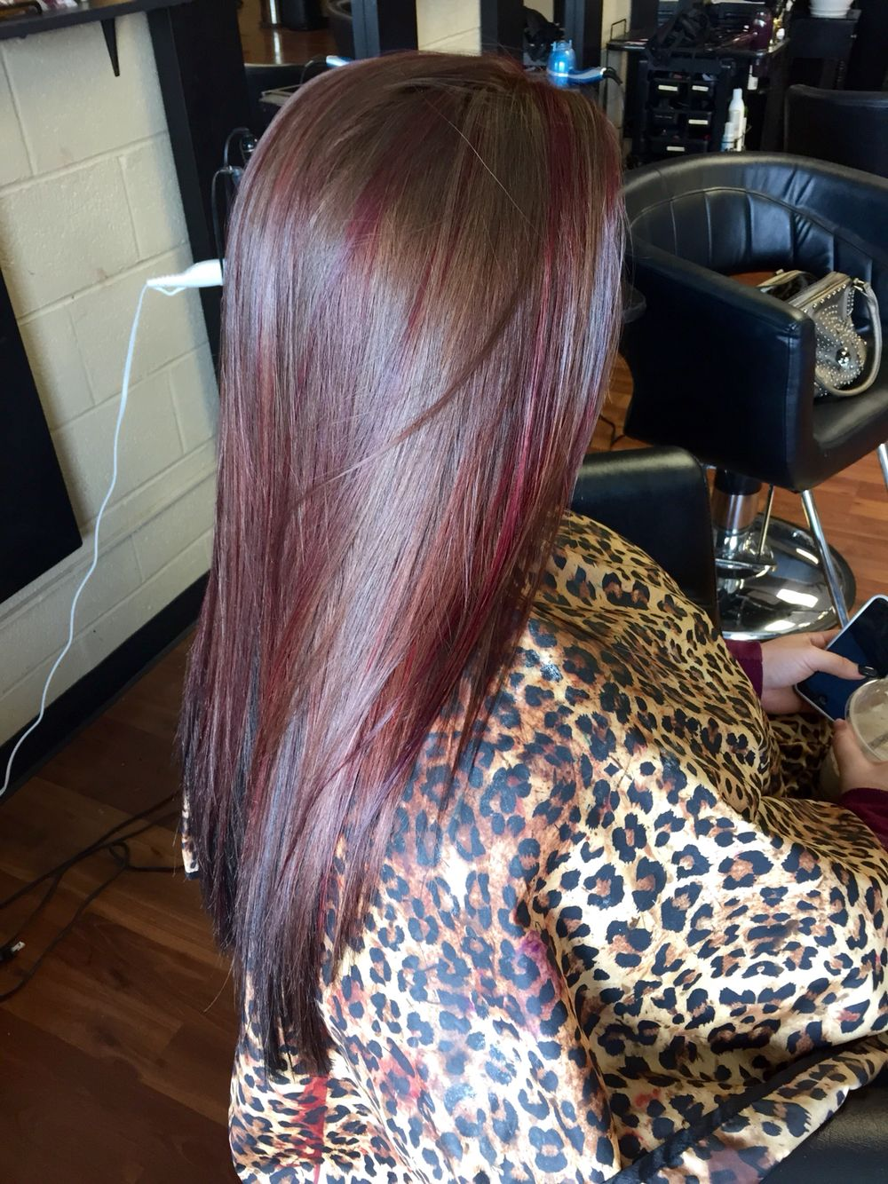 Brown Red Violet Highlights Black Underneath Hair By