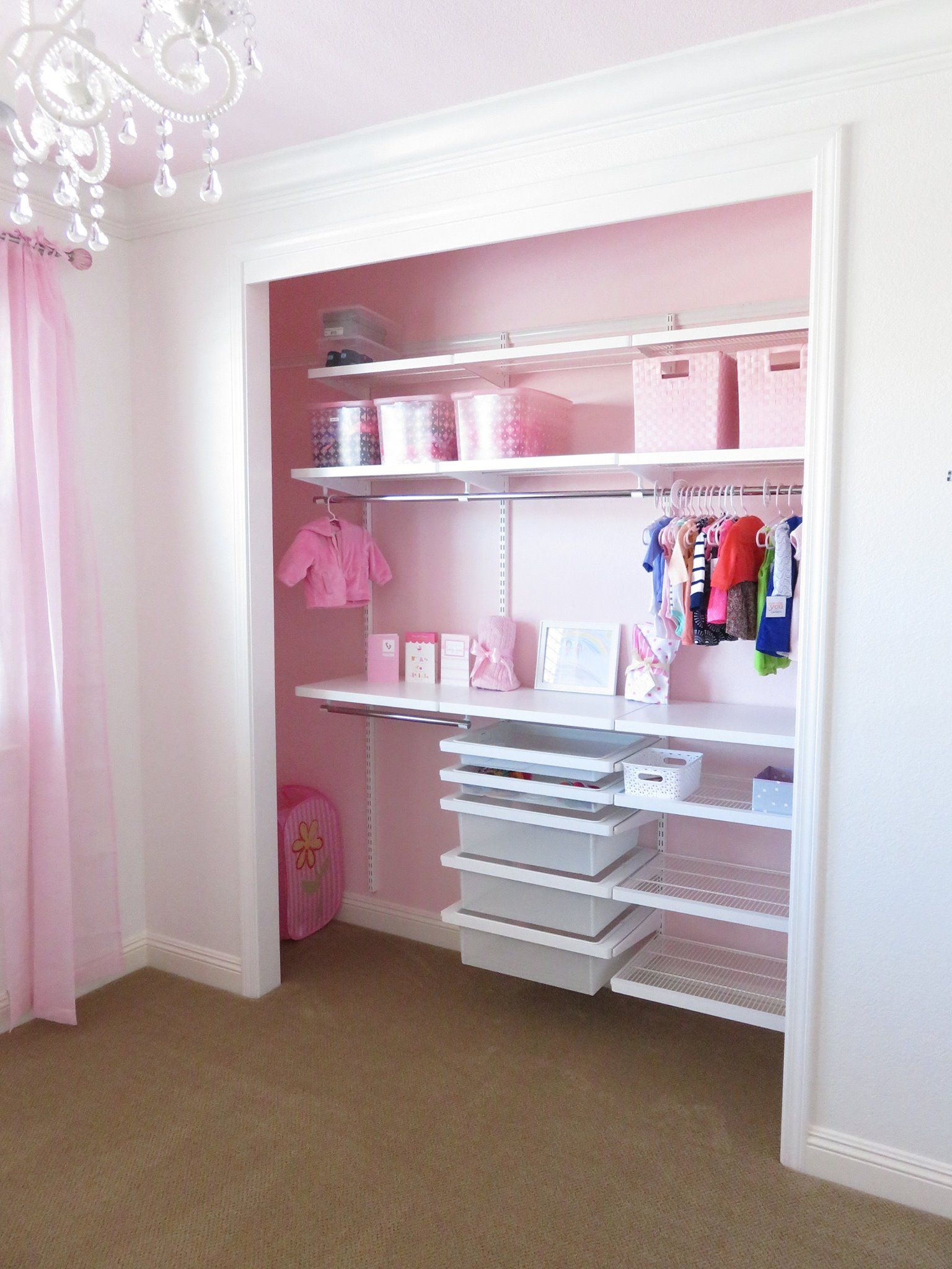 My baby daughter's closet. love it! #tcs #thecontainerstore #elfa … |  Toddler closet organization, Toddler closet, Kids closet organization