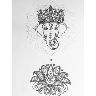 Almost Done Ganesh Lotus Lotusflower Flower Hindu Art Sketch Indian Asia Mandala Elephant Patterns Its Tattoos Lotus Drawing Elephant Tattoo