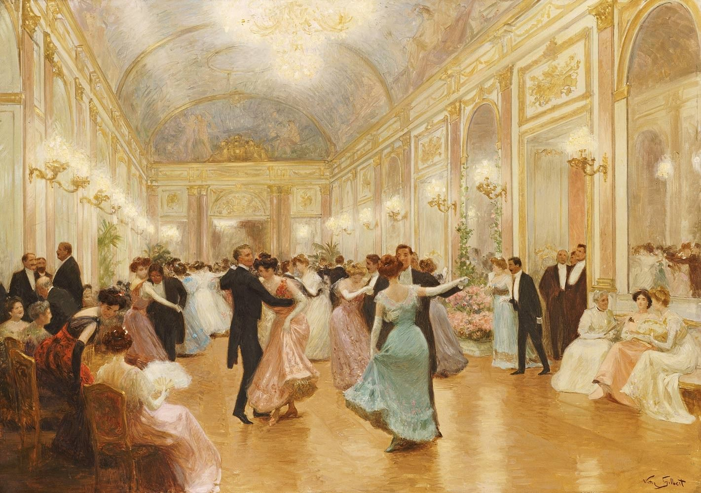 painting of a ball room filled with people Wall Mural | Victorian ...
