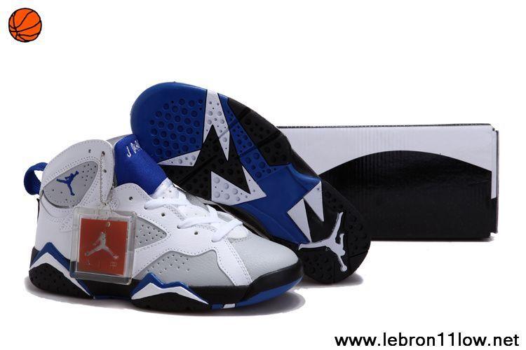72fe93ec752ba3 Women Air Jordan 7 VII White French Blue-Flint Grey Sports Shoes Store