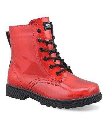 Loving this Red & Black Iridescent Luna Ankle Boot - Kids on #zulily! #zulilyfinds