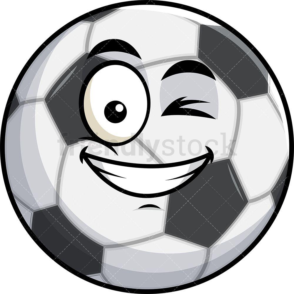 Winking And Smiling Soccer Ball Emoji Cartoon Clipart Vector Friendlystock Soccer Ball Emoji Soccer
