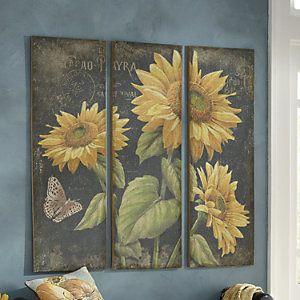 Set Of 4 Sunflower Canvases Sunflower Wall Art Sunflower Wall Decor 3 Piece Canvas Art